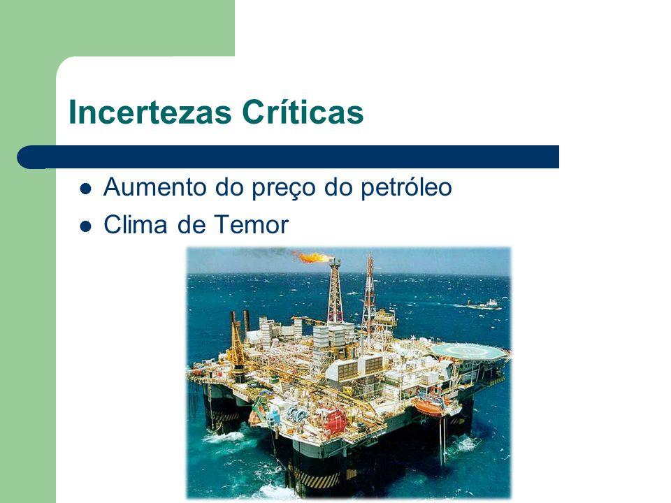 Incertezas Críticas Aumento do preço do petróleo Clima de Temor