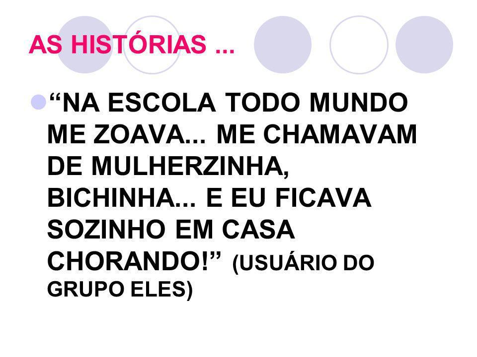 AS HISTÓRIAS... NA ESCOLA TODO MUNDO ME ZOAVA... ME CHAMAVAM DE MULHERZINHA, BICHINHA... E EU FICAVA SOZINHO EM CASA CHORANDO! (USUÁRIO DO GRUPO ELES)