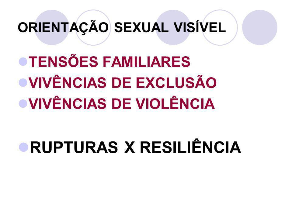 ORIENTAÇÃO SEXUAL VISÍVEL TENSÕES FAMILIARES VIVÊNCIAS DE EXCLUSÃO VIVÊNCIAS DE VIOLÊNCIA RUPTURAS X RESILIÊNCIA