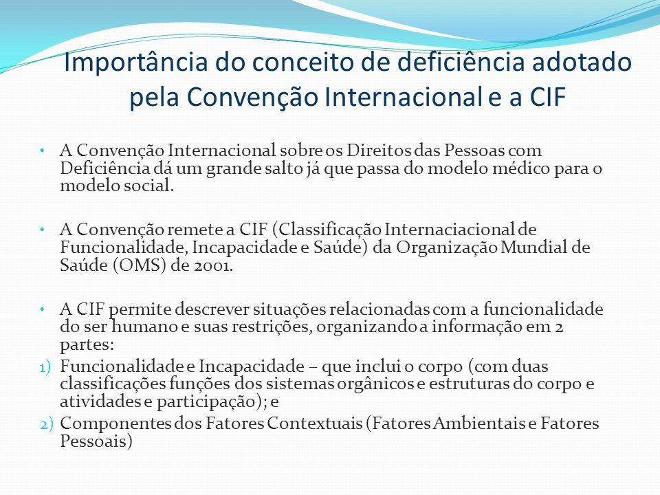 Importância do conceito de deficiência adotado pela Convenção Internacional e a CIF A Convenção Internacional sobre os Direitos das Pessoas com Defici