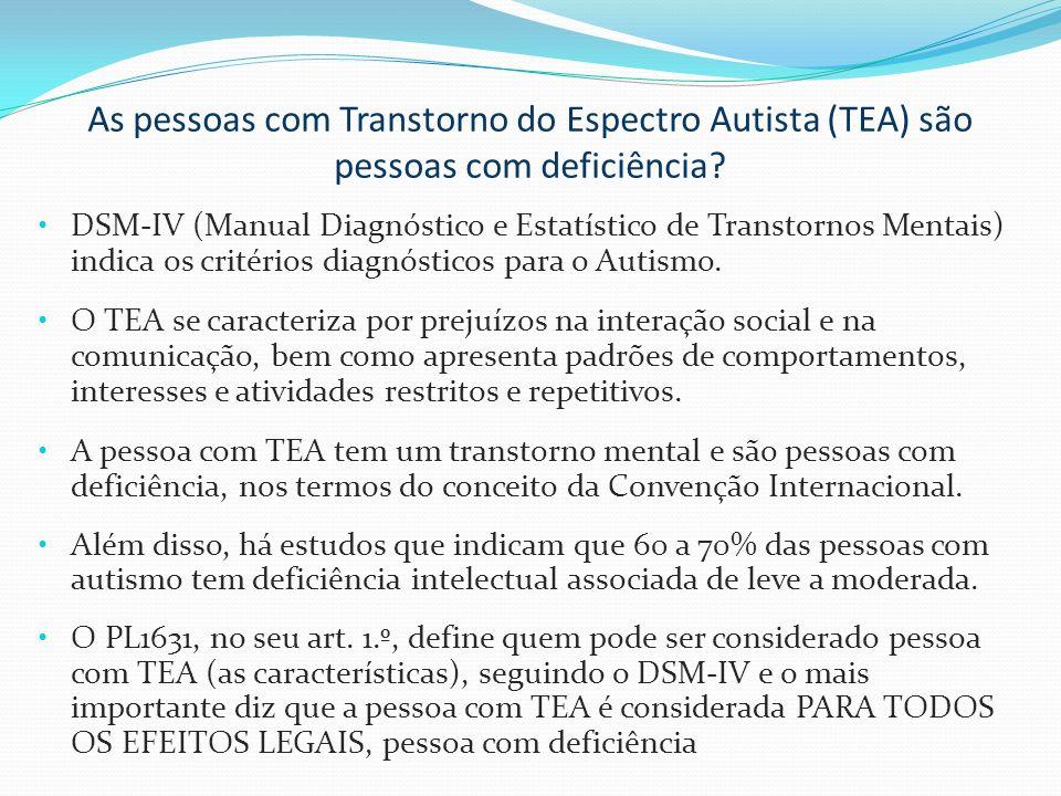 As pessoas com Transtorno do Espectro Autista (TEA) são pessoas com deficiência? DSM-IV (Manual Diagnóstico e Estatístico de Transtornos Mentais) indi