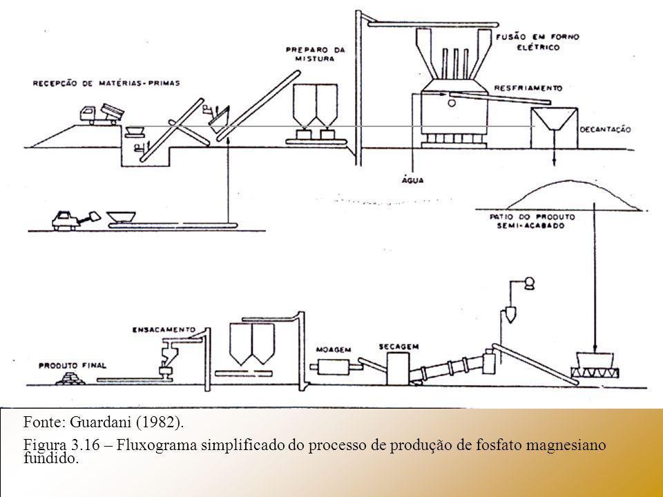 Fonte: Guardani (1982). Figura 3.16 – Fluxograma simplificado do processo de produção de fosfato magnesiano fundido.