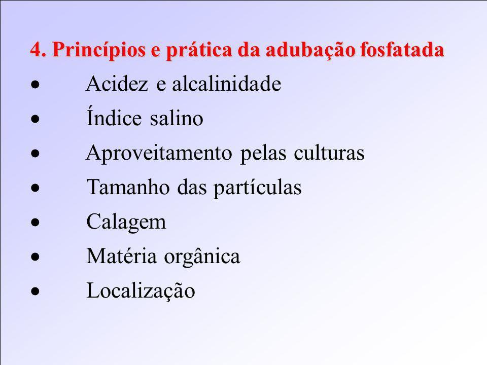 4. Princípios e prática da adubação fosfatada Acidez e alcalinidade Índice salino Aproveitamento pelas culturas Tamanho das partículas Calagem Matéria