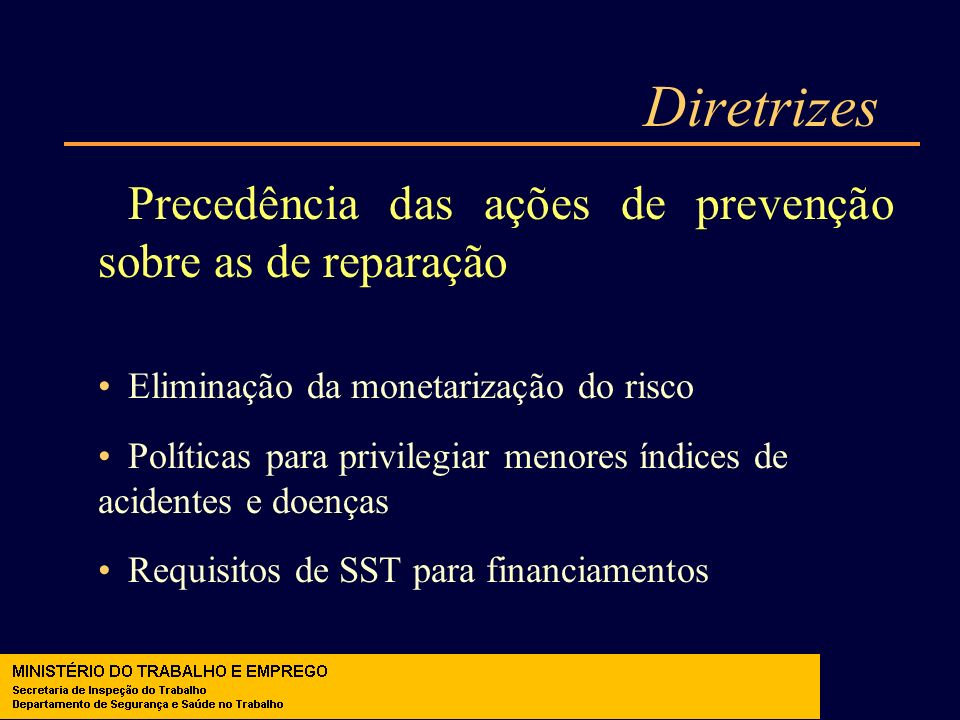 Diretrizes Precedência das ações de prevenção sobre as de reparação Eliminação da monetarização do risco Políticas para privilegiar menores índices de