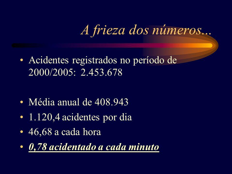 A frieza dos números... Acidentes registrados no período de 2000/2005: 2.453.678 Média anual de 408.943 1.120,4 acidentes por dia 46,68 a cada hora 0,