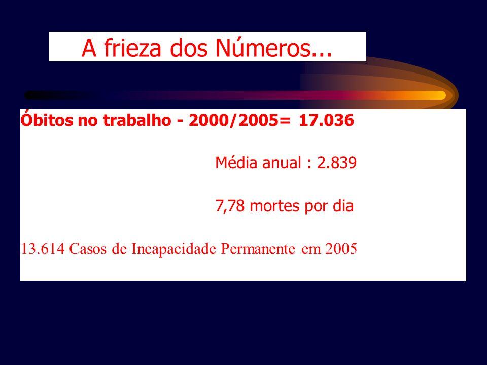 Óbitos no trabalho - 2000/2005= 17.036 Média anual : 2.839 7,78 mortes por dia 13.614 Casos de Incapacidade Permanente em 2005 A frieza dos Números...