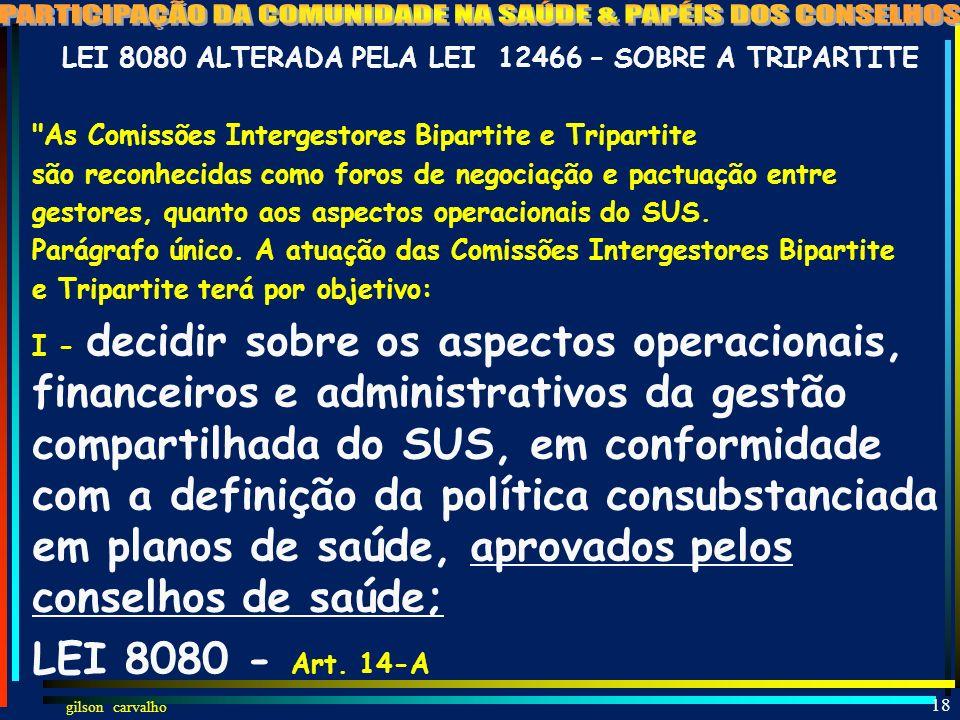 gilson carvalho 17 PARTICIPAÇÃO DA COMUNIDADE NA SAÚDE (LEI 8142) CONSELHOCONFERÊNCIA CRIADO POR LEI PARITÁRIO (50% USUÁRIOS E 50% GOV/PREST/PROFIS.)