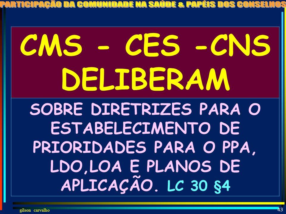 gilson carvalho 42 CMS - CES -CNS APRECIAM PROGRAMA COOPERAÇÃO TÉCNICA FEDERAL EM RELAÇÃO AOS FUNDOS DE SAÚDE E OS INDICADORES DE QUALIDADE. LC 43 § 1