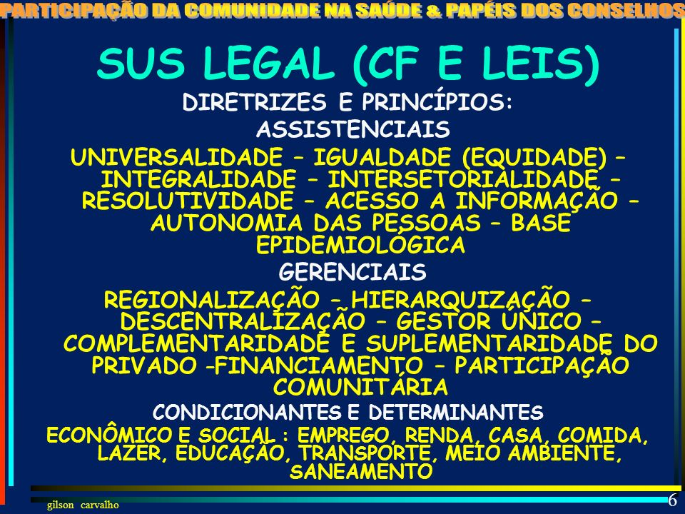 5 SUS LEGAL (CF E LEIS) SAÚDE DIREITO DE TODOS E DEVER DO ESTADO FUNÇÕES: REGULAR, FISCALIZAR,CONTROLAR, EXECUTAR OBJETIVOS: 1) IDENTIFICAR CONDICIONA