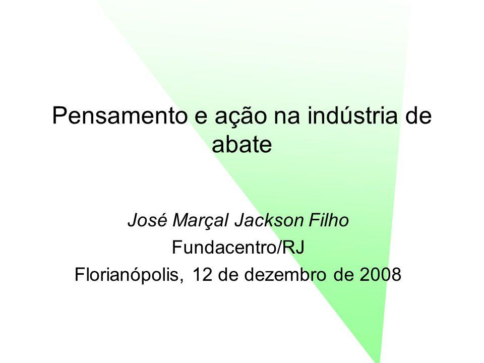 Pensamento e ação na indústria de abate José Marçal Jackson Filho Fundacentro/RJ Florianópolis, 12 de dezembro de 2008