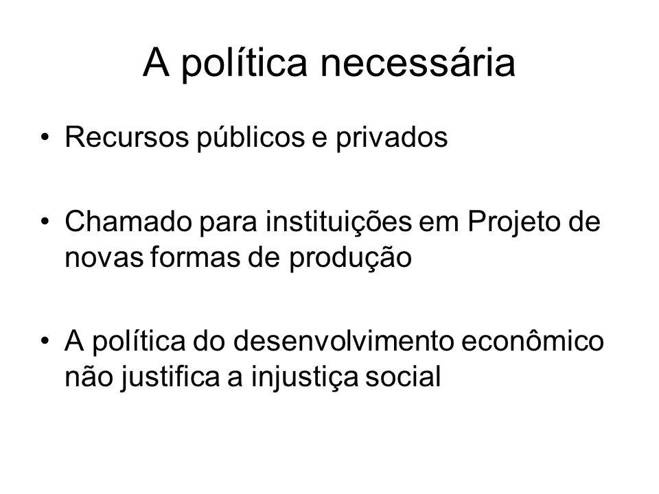 A política necessária Recursos públicos e privados Chamado para instituições em Projeto de novas formas de produção A política do desenvolvimento econ