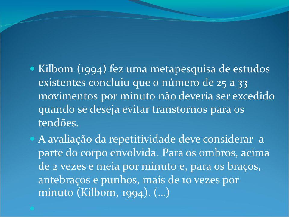 Kilbom (1994) fez uma metapesquisa de estudos existentes concluiu que o número de 25 a 33 movimentos por minuto não deveria ser excedido quando se deseja evitar transtornos para os tendões.