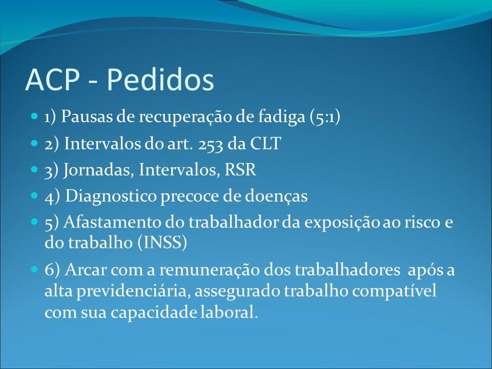 ACP - Pedidos 1) Pausas de recuperação de fadiga (5:1) 2) Intervalos do art.
