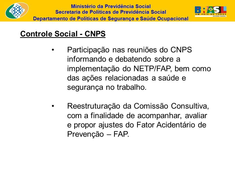 Ministério da Previdência Social Secretaria de Políticas de Previdência Social Departamento de Políticas de Segurança e Saúde Ocupacional Controle Soc