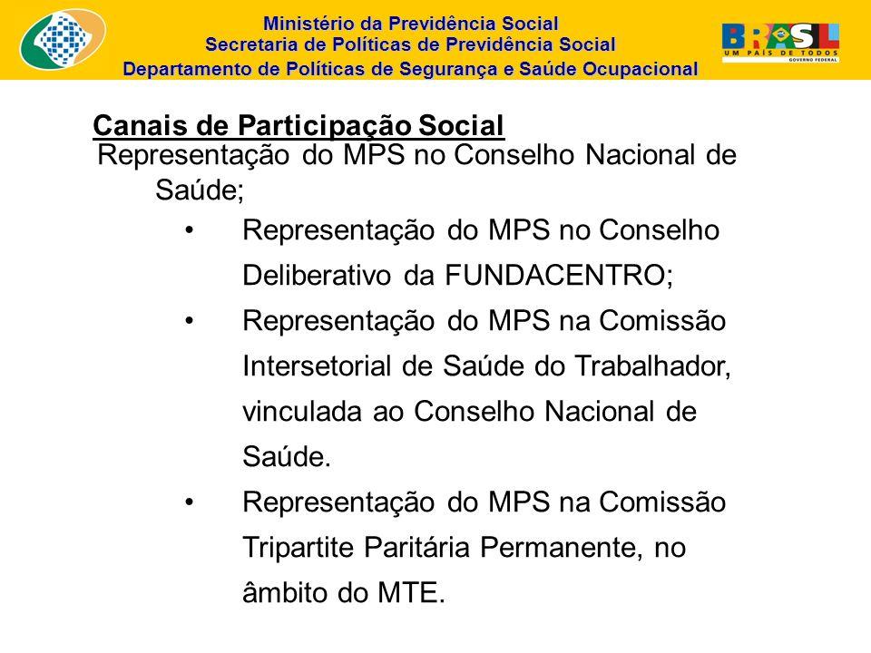 Ministério da Previdência Social Secretaria de Políticas de Previdência Social Departamento de Políticas de Segurança e Saúde Ocupacional Canais de Pa