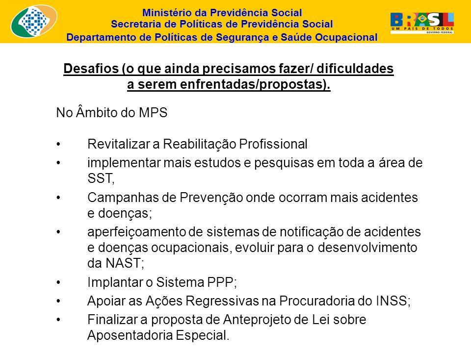 Ministério da Previdência Social Secretaria de Políticas de Previdência Social Departamento de Políticas de Segurança e Saúde Ocupacional Desafios (o