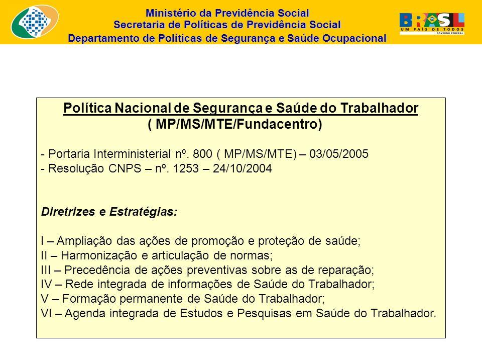 Ministério da Previdência Social Secretaria de Políticas de Previdência Social Departamento de Políticas de Segurança e Saúde Ocupacional Política Nac