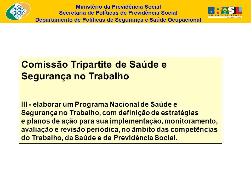 Ministério da Previdência Social Secretaria de Políticas de Previdência Social Departamento de Políticas de Segurança e Saúde Ocupacional Comissão Tri
