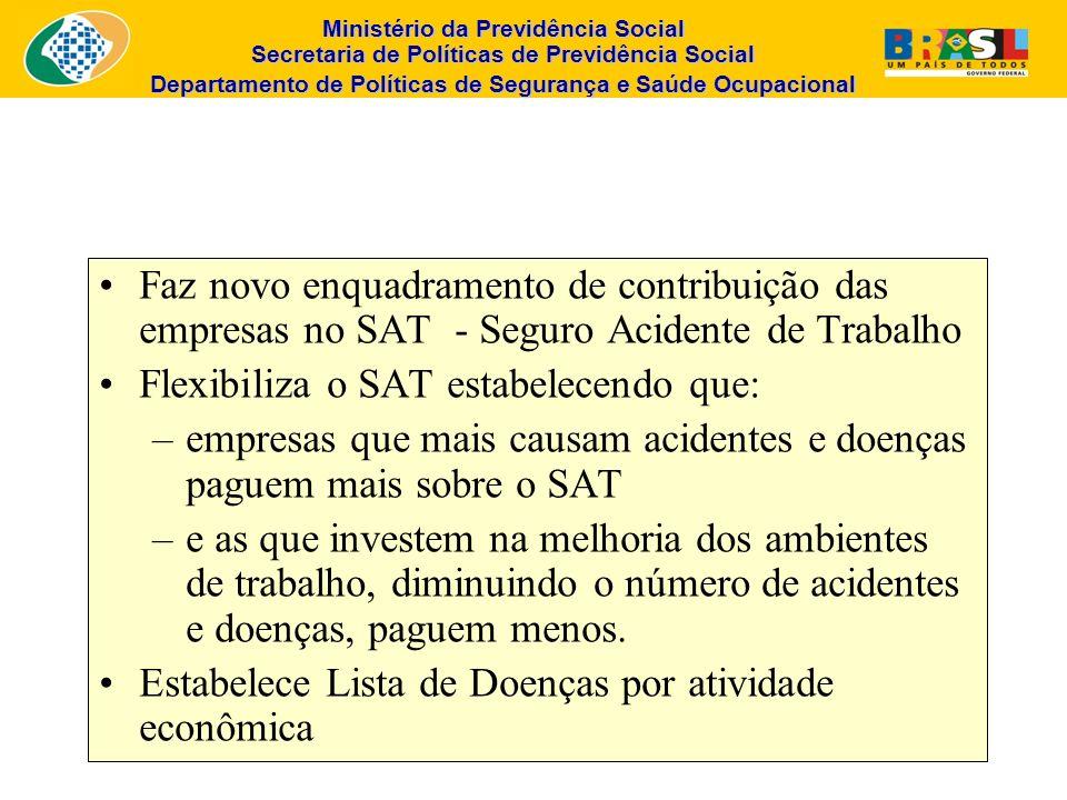 Ministério da Previdência Social Secretaria de Políticas de Previdência Social Departamento de Políticas de Segurança e Saúde Ocupacional Faz novo enq