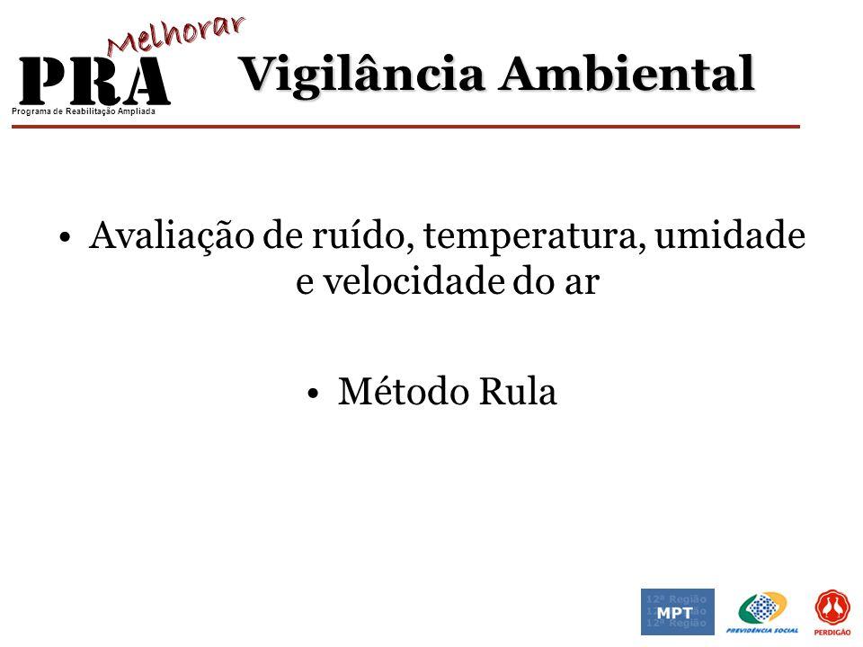 Programa de Reabilitação Ampliada Vigilância Ambiental Avaliação de ruído, temperatura, umidade e velocidade do ar Método Rula