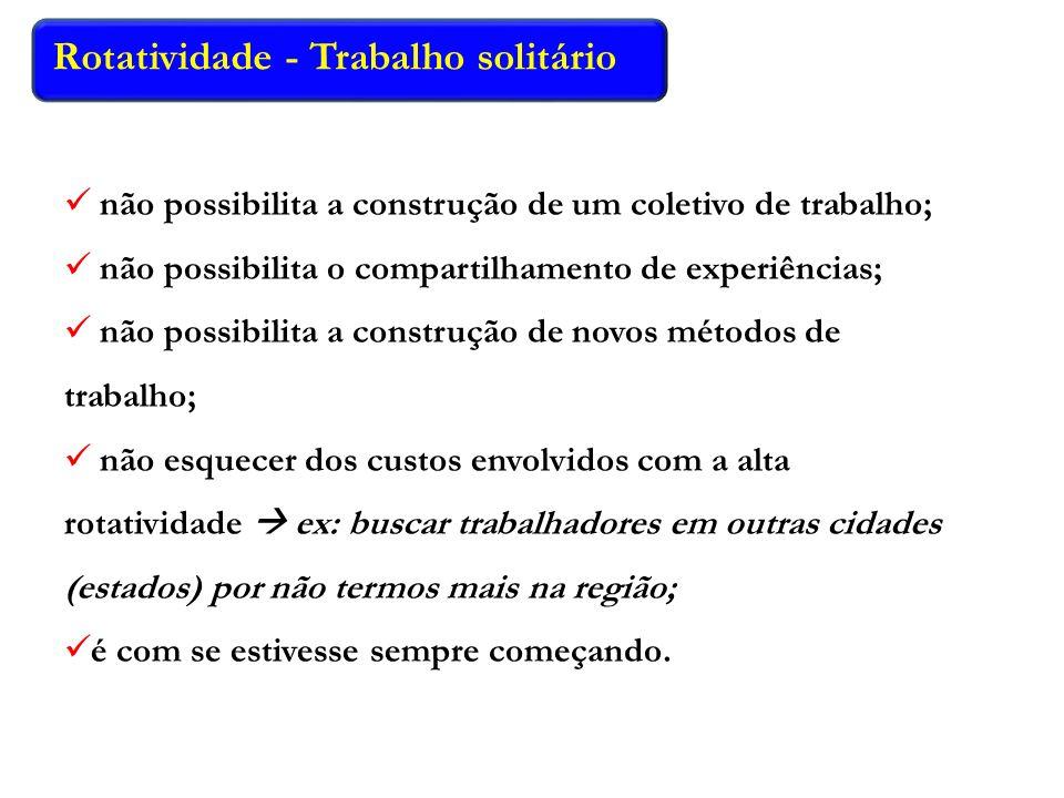 Rotatividade - Trabalho solitário não possibilita a construção de um coletivo de trabalho; não possibilita o compartilhamento de experiências; não pos