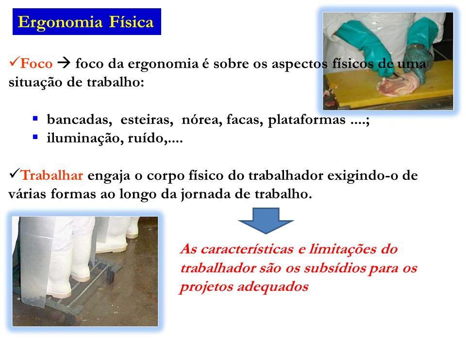 Ergonomia Física Foco foco da ergonomia é sobre os aspectos físicos de uma situação de trabalho: bancadas, esteiras, nórea, facas, plataformas....; il