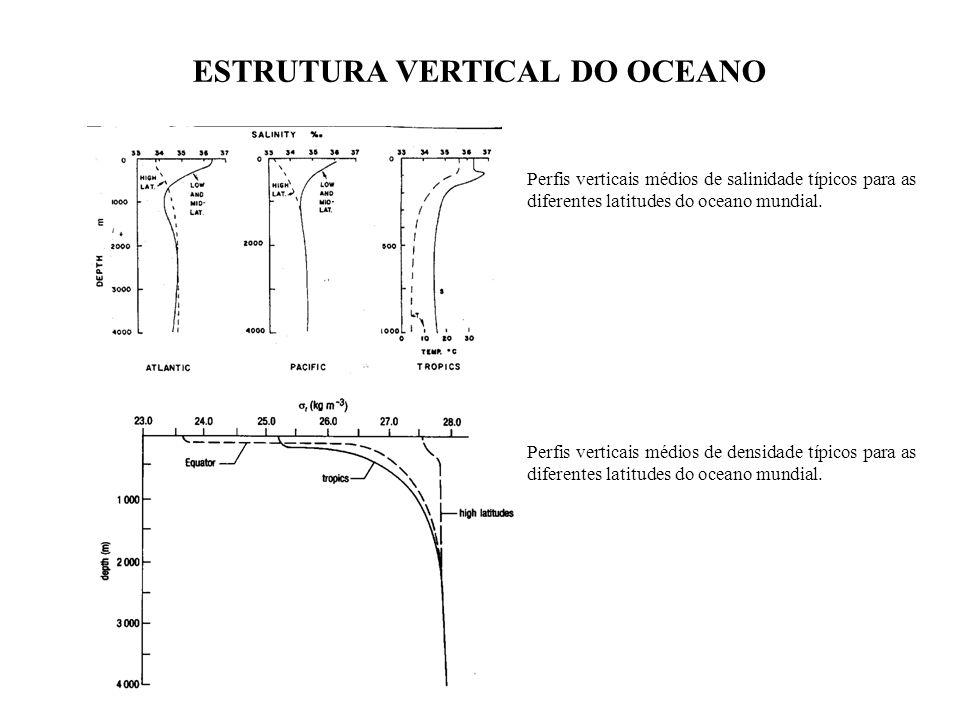 Perfis verticais médios de salinidade típicos para as diferentes latitudes do oceano mundial. ESTRUTURA VERTICAL DO OCEANO Perfis verticais médios de