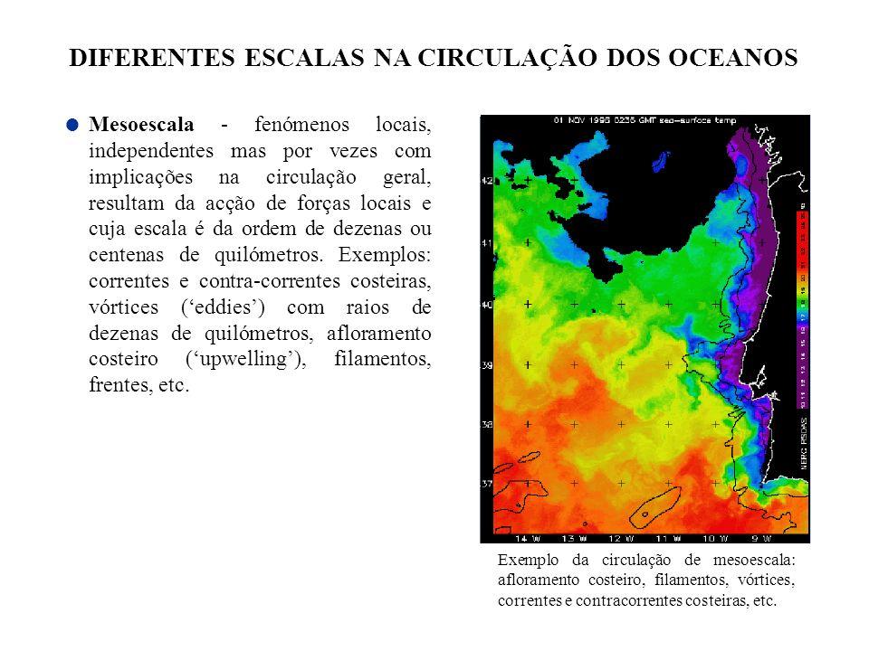 Mesoescala - fenómenos locais, independentes mas por vezes com implicações na circulação geral, resultam da acção de forças locais e cuja escala é da