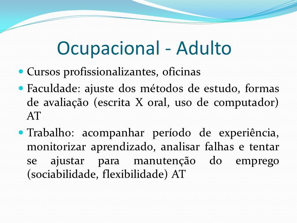 Ocupacional - Adulto Cursos profissionalizantes, oficinas Faculdade: ajuste dos métodos de estudo, formas de avaliação (escrita X oral, uso de computa