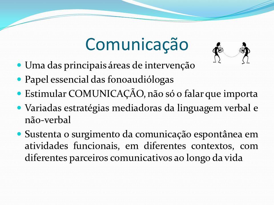 Comunicação Uma das principais áreas de intervenção Papel essencial das fonoaudiólogas Estimular COMUNICAÇÃO, não só o falar que importa Variadas estr