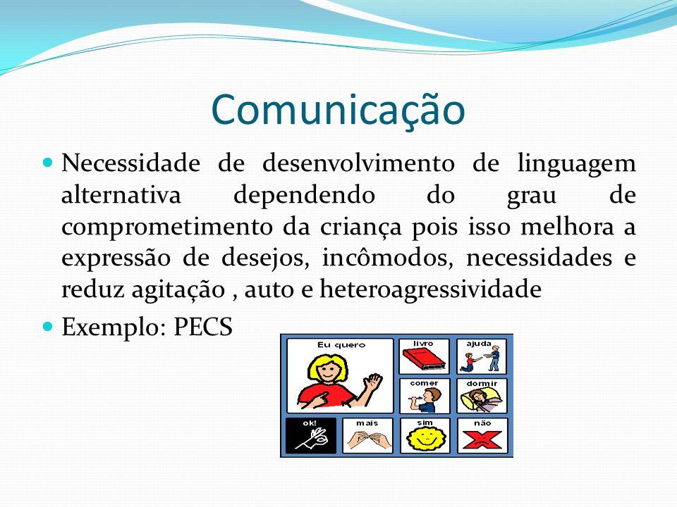 Comunicação Necessidade de desenvolvimento de linguagem alternativa dependendo do grau de comprometimento da criança pois isso melhora a expressão de