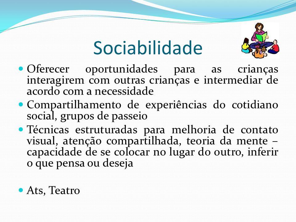 Sociabilidade Oferecer oportunidades para as crianças interagirem com outras crianças e intermediar de acordo com a necessidade Compartilhamento de ex