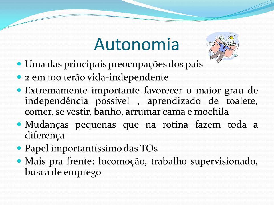 Autonomia Uma das principais preocupações dos pais 2 em 100 terão vida-independente Extremamente importante favorecer o maior grau de independência po
