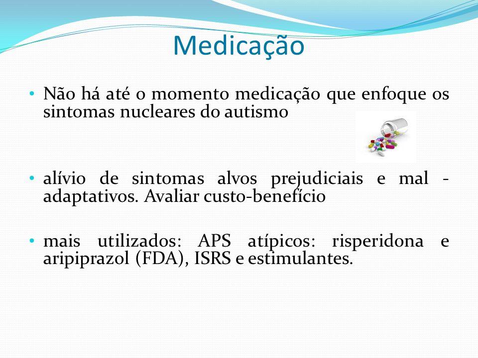 Medicação Não há até o momento medicação que enfoque os sintomas nucleares do autismo alívio de sintomas alvos prejudiciais e mal - adaptativos. Avali