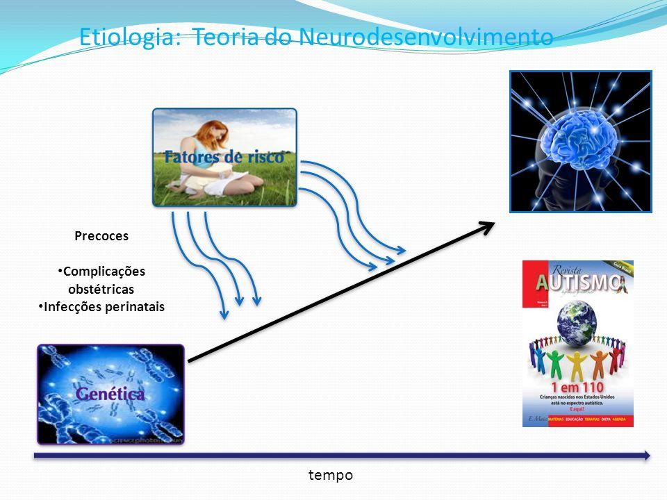 Etiologia: Teoria do Neurodesenvolvimento Precoces Complicações obstétricas Infecções perinatais tempo