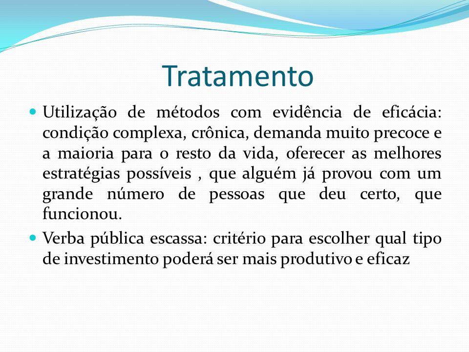 Tratamento Utilização de métodos com evidência de eficácia: condição complexa, crônica, demanda muito precoce e a maioria para o resto da vida, oferec