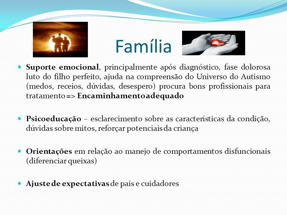 Família Suporte emocional, principalmente após diagnóstico, fase dolorosa luto do filho perfeito, ajuda na compreensão do Universo do Autismo (medos,
