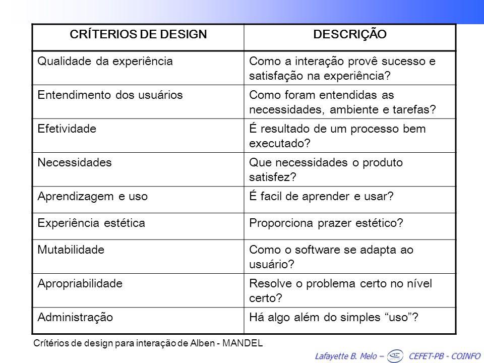 Lafayette B. Melo – CEFET-PB - COINFO CRÍTERIOS DE DESIGNDESCRIÇÃO Qualidade da experiênciaComo a interação provê sucesso e satisfação na experiência?