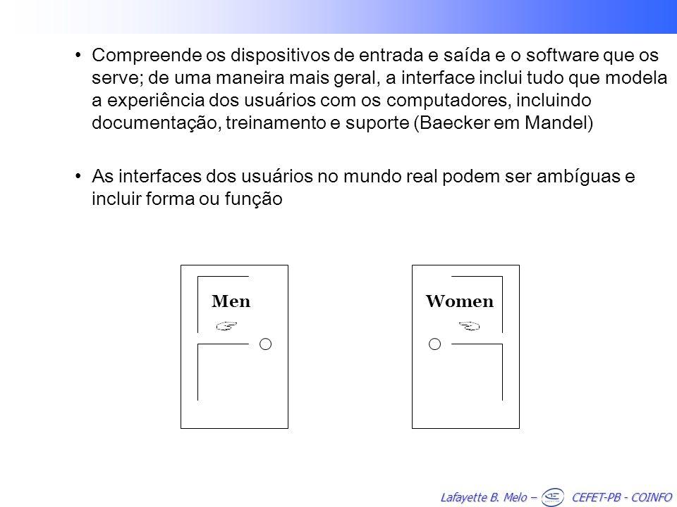 Lafayette B. Melo – CEFET-PB - COINFO Compreende os dispositivos de entrada e saída e o software que os serve; de uma maneira mais geral, a interface