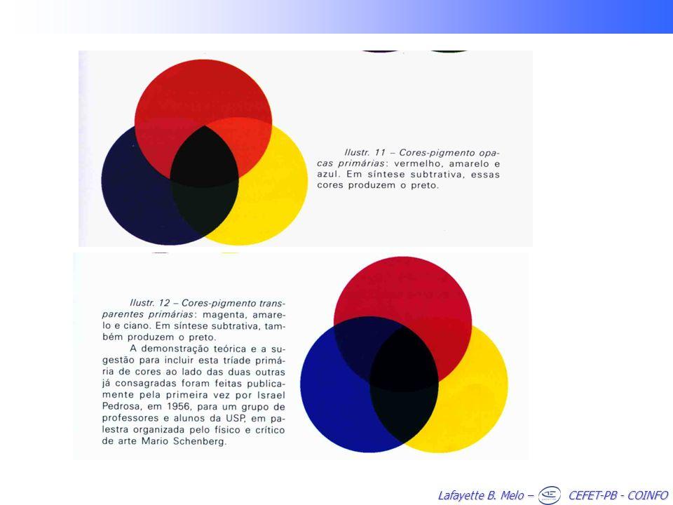 CLASSIFICAÇÃO DAS CORES 1) Cor primária ou geratriz –Cada uma das cores indecomponíveis que, misturadas em proporções variáveis, produzem todas as cores do espectro solar 2) Cor secundária –É aquela formada pela combinação de duas cores primárias 3) Cor complementar –É a designação dada à cor secundária que em justaposição com uma cor primária, complementa o espectro solar