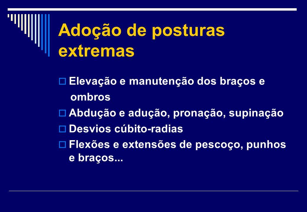 Adoção de posturas extremas Elevação e manutenção dos braços e ombros Abdução e adução, pronação, supinação Desvios cúbito-radias Flexões e extensões
