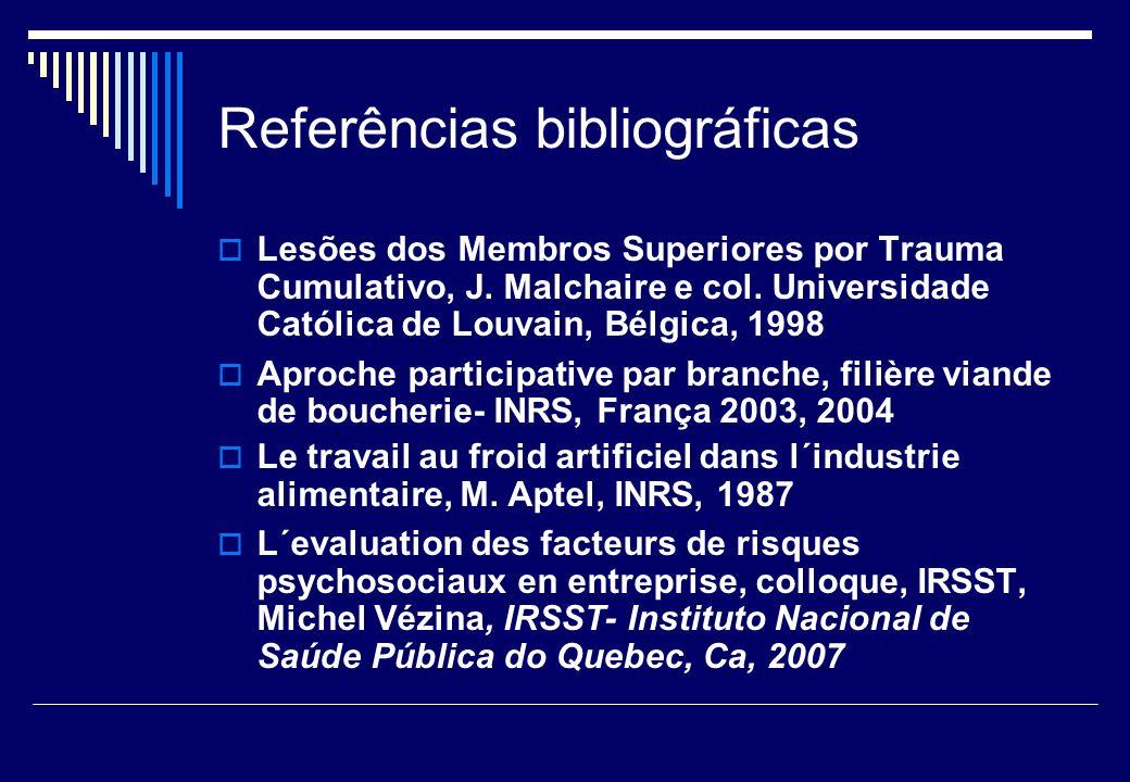 Referências bibliográficas Lesões dos Membros Superiores por Trauma Cumulativo, J. Malchaire e col. Universidade Católica de Louvain, Bélgica, 1998 Ap