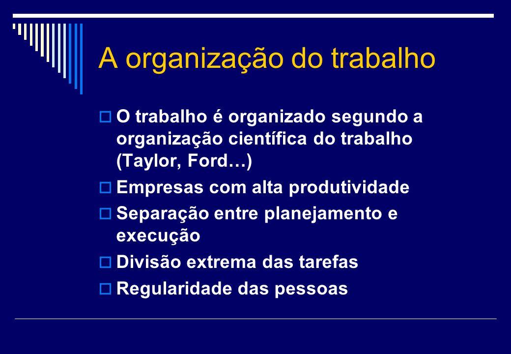 A organização do trabalho O trabalho é organizado segundo a organização científica do trabalho (Taylor, Ford…) Empresas com alta produtividade Separaç