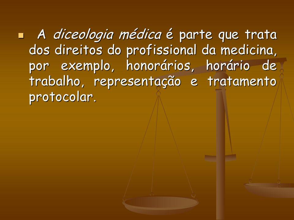 A diceologia médica é parte que trata dos direitos do profissional da medicina, por exemplo, honorários, horário de trabalho, representação e tratamen