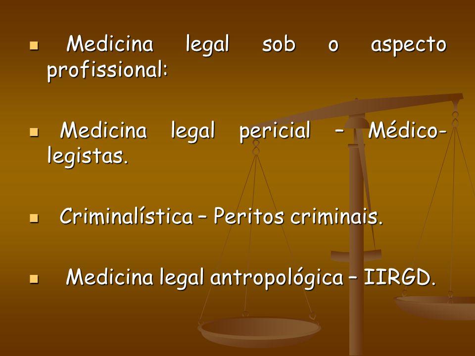Sob aspecto didático, temos: Sob aspecto didático, temos: Medicina legal geral: Medicina legal geral: -Deontologia médica -Deontologia médica -Diceologia médica -Diceologia médica Medicina legal especial: Medicina legal especial: -Antropologia médico-legal ou forense -Antropologia médico-legal ou forense -Asfixiologia médico-legal ou forense -Asfixiologia médico-legal ou forense -Criminologia -Criminologia