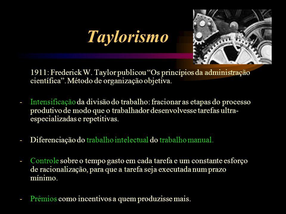 Taylorismo 1911: Frederick W. Taylor publicou Os princípios da administração científica. Método de organização objetiva. -Intensificação da divisão do