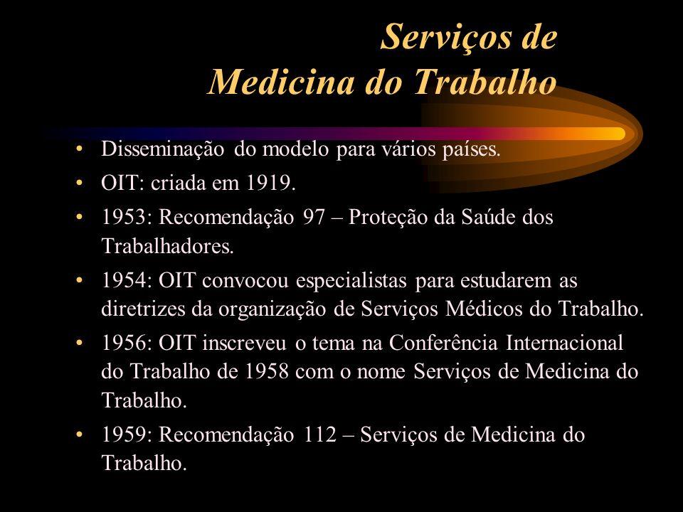 Serviços de Medicina do Trabalho Disseminação do modelo para vários países. OIT: criada em 1919. 1953: Recomendação 97 – Proteção da Saúde dos Trabalh