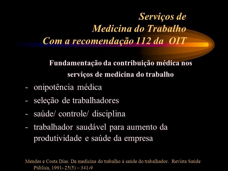 Serviços de Medicina do Trabalho Com a recomendação 112 da OIT Fundamentação da contribuição médica nos serviços de medicina do trabalho -onipotência