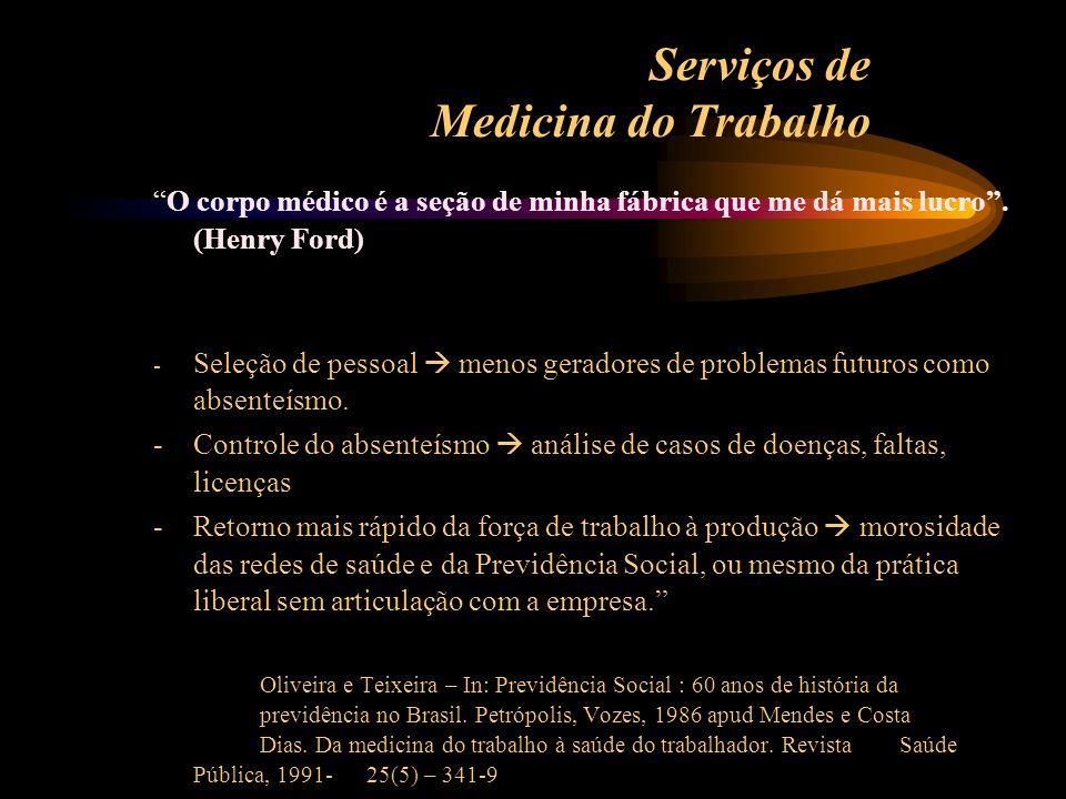 Serviços de Medicina do Trabalho O corpo médico é a seção de minha fábrica que me dá mais lucro. (Henry Ford) - Seleção de pessoal menos geradores de
