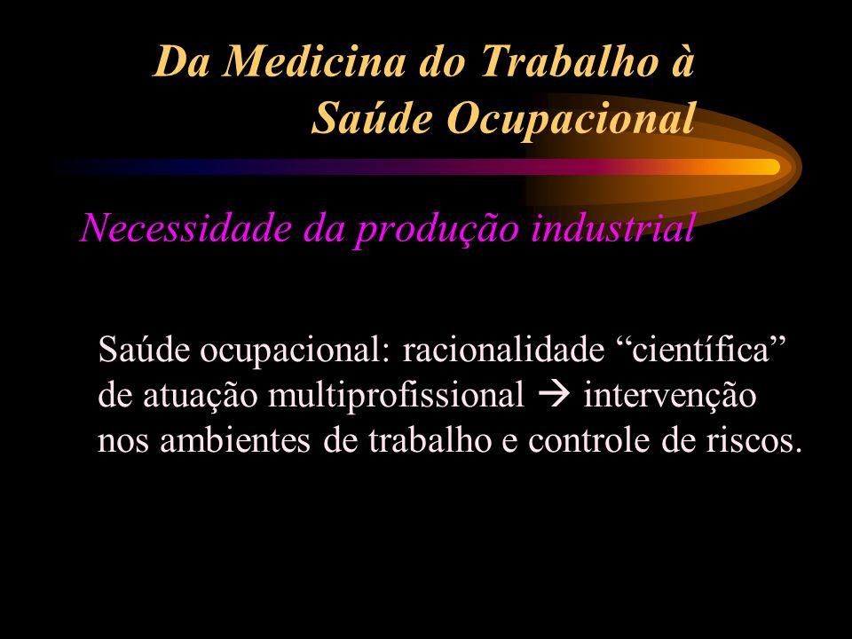 Da Medicina do Trabalho à Saúde Ocupacional Necessidade da produção industrial Saúde ocupacional: racionalidade científica de atuação multiprofissiona